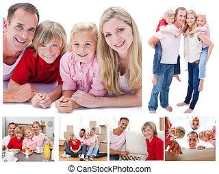 thuis, collage, samen, uitgeven, tijd, gezin