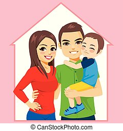 thuis, concept, gezin, vrolijke
