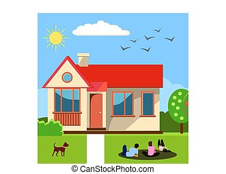 thuis, concept., vector, illustratie