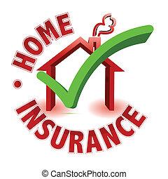 thuis, concept, verzekering