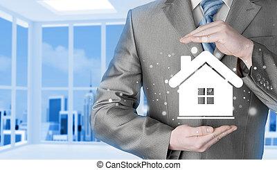 thuis, concept., verzekering