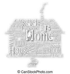 thuis, cutout, woorden