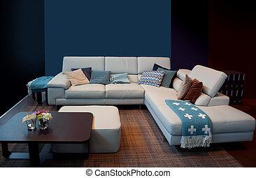 thuis, detail, blauwe , interieur
