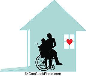 thuis, -, eer, waardigheid, care