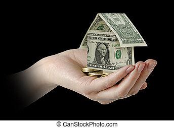 thuis, geld, hand