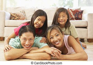 thuis, gezin, jonge, relaxen
