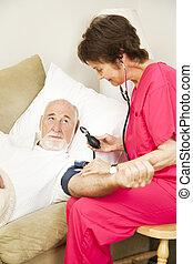 thuis, gezondheid, -, bloeddruk, verticaal