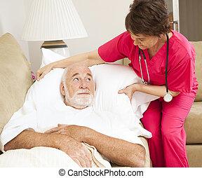 thuis, gezondheid, -, patiënt, comfort