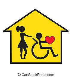 thuis, gezondheidszorg, en, steun
