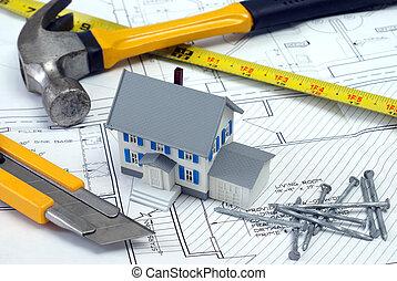 thuis, grondplannen, nieuw