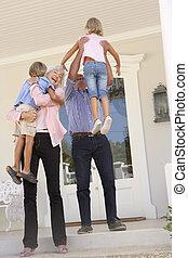 thuis, grootouders, verwelkoming, kleinkinderen, bezoek