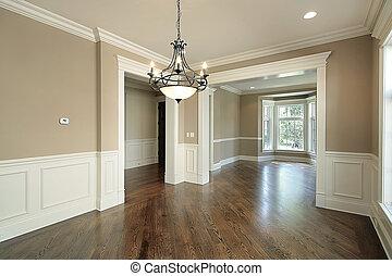 thuis, het dineren, bouwsector, kamer, nieuw