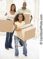 thuis, het glimlachen, verhuizing, gezin, nieuw