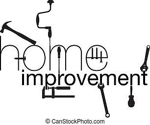 thuis, improvement., vector, illustratie