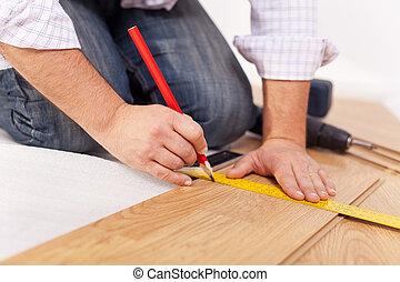 thuis, improvment, -, het leggen, laminaat, bevloering