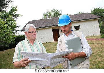 thuis, individu, architect, particulier, vergadering