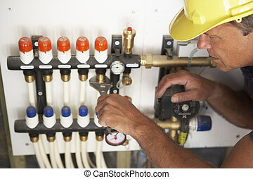 thuis, installatiebedrijf, pipework, werkende , nieuw