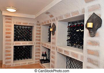 thuis, kelder, luxe, wijntje