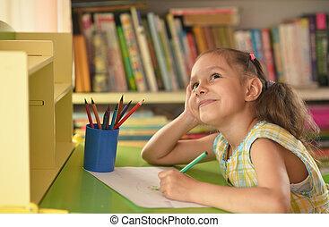thuis, klein meisje, tekening
