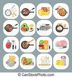 thuis koken, set, plat, iconen