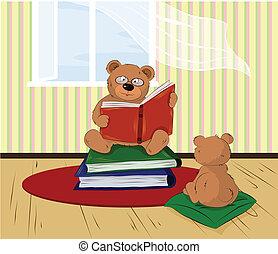 thuis, lezende