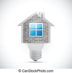 thuis, licht, ontwerp, illustratie, bol