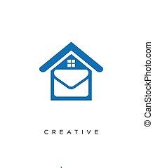 thuis, logo, ontwerp, pictogram, boodschap, symbool, vector