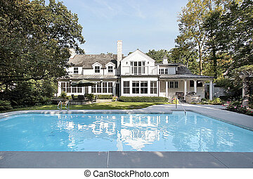 thuis, luxe, pool, zwemmen