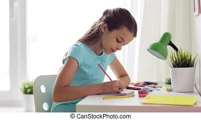 thuis, meisje, tekening, vrolijke