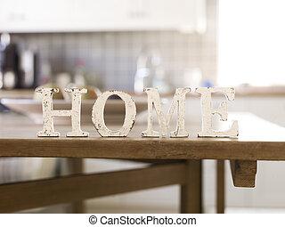 thuis, met, antieke , brieven