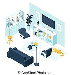 thuis, meubel, kamer, levend, interieur, concept, isometric, vrijstaand, aquaruim, accessoires, witte achtergrond