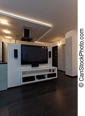 thuis, minimalist, flat, -, bioscoop