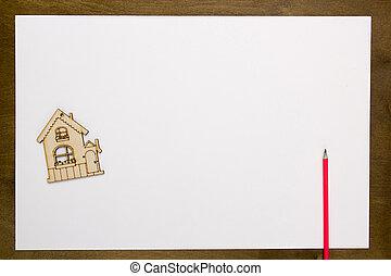 thuis, model, papier, blad, witte
