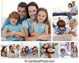 thuis, momenten, collage, goederen, uitgeven, samen, gezin