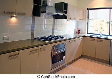 thuis, nieuw, keuken