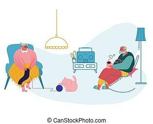 thuis, oma, vrouw, leisure., verslappen, spotprent, radio., opa, tijd, levend, zittende , senior, vector, sparen, plat, grootouders, paar, man, thee, drinkt, luisteren, breiwerk, kleding, room., illustratie