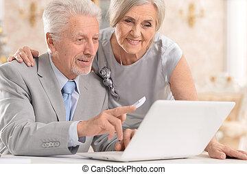 thuis, paar, draagbare computer, gebruik
