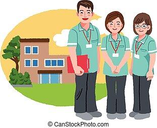 thuis, pensioen, vriendelijk, caregivers