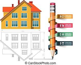 thuis, pictogram, en, tekening, met, een, potlood