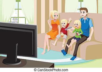 thuis, schouwend, gezin, movies