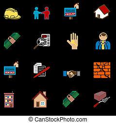 thuis, set, aankoop, pictogram