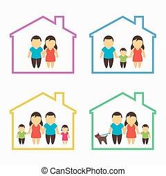 thuis, set, gezin, iconen
