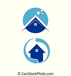 thuis, set, logo, was, pictogram