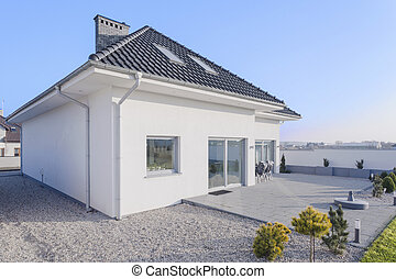 thuis, single-family, extern, aanzicht
