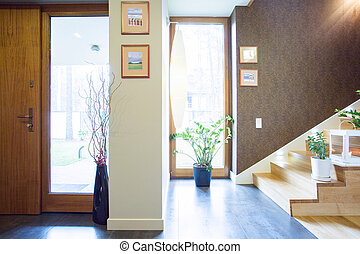 thuis, single-family, ontworpen, anteroom
