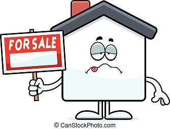 thuis, spotprent, ziek, verkoop