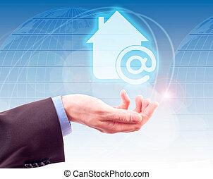 thuis, symbool, internet