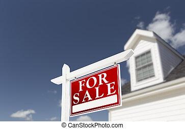 thuis, te koop, vastgoed voorteken, voor, woning