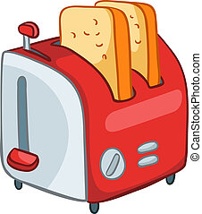thuis, toaster, spotprent, keuken