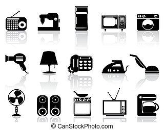 thuis, toestellen, pictogram, set